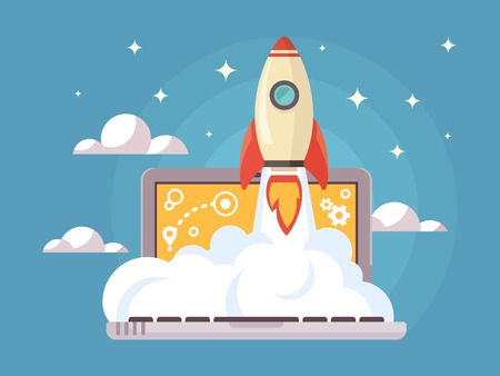 Web start up flat style. Rocket flight, promotion seo, laptop and launch, vector illustration