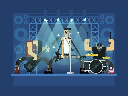 Illustration pour Rock band concert, guitar and musician, musical instrument, sound and performance, stage and guitarist, flat vector illustration - image libre de droit