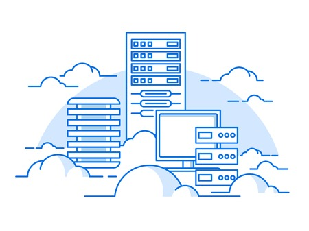 Foto de Cloud service. Internet and computer, communication information, server. flat vector illustration - Imagen libre de derechos