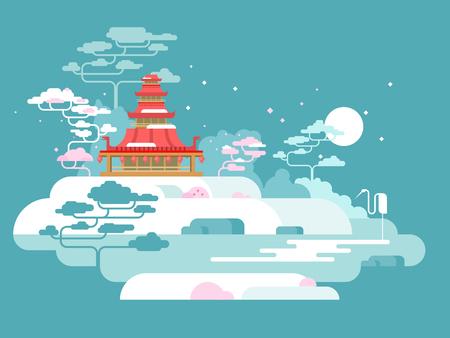 Vektor für China painted landscape. Asia nature, traditional culture design, vector illustration - Lizenzfreies Bild