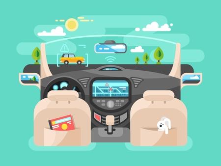 Illustration pour Automobile computer assistent. Car technology, auto transport, automotive navigation transportation, illustration - image libre de droit