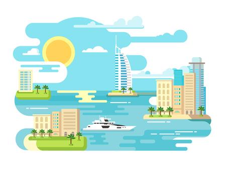 Ilustración de City beach design flat. Building and travel, landscape summer vacation, tourism sea, vector illustration - Imagen libre de derechos