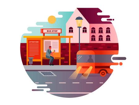 Ilustración de Bus stop design flat. Transport traffic, city public transportation, road station, vector illustration - Imagen libre de derechos