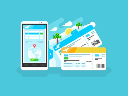 Illustration for Tickets for the plane on a smartphone. Travel airplane, internet online trip, mobile phone flight airline, vector illustration - Royalty Free Image