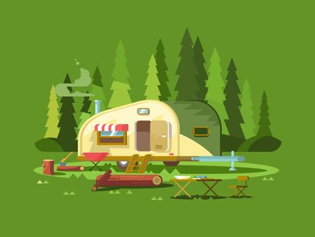 Illustration pour Trailer for travel in forest. Summer holiday, adventure vehicle for tourism, trip truck, vector illustration - image libre de droit