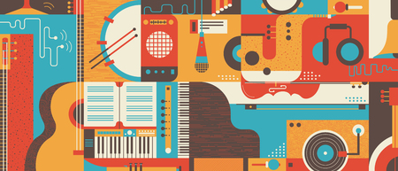 Abstract Music Background, flat vector illustration. Collage of varios musical instruments.