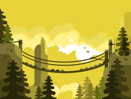 Suspension bridge design flat. Nature park, adventure and travel, vector illustration
