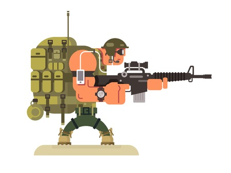 Illustration pour Character military peacekeeper. Army soldier and war, weapon and uniform, flat illustration - image libre de droit