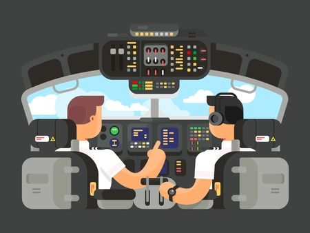 Pilots in cockpit flat design. Airplane captain, and command of plane. illustration