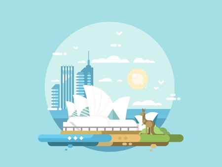 Sydney city flat design. Modern opera house and kangaroo. Vector illustration