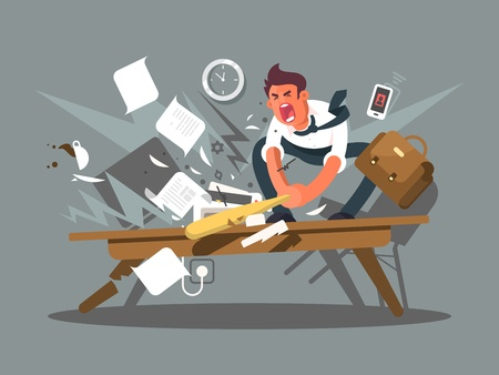 Illustration pour Angry and exasperated employee. Office worker smashing a table bat. Vector illustration - image libre de droit