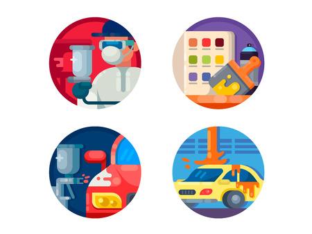 Auto painting set icons