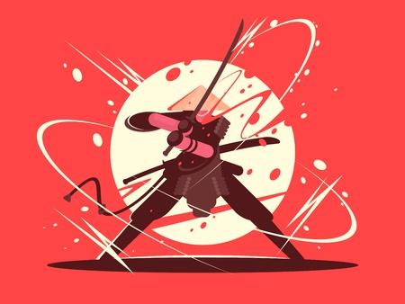 Illustration pour Japanese battle samurai with katana - image libre de droit