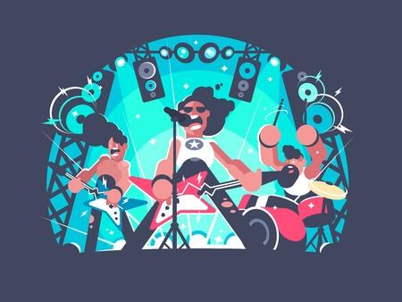 Illustration pour Concert of rock band with guitar and drum set. Vector illustration. - image libre de droit