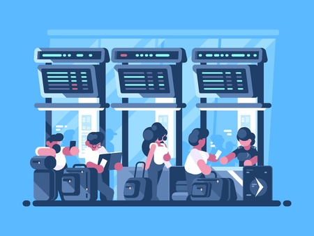 Ilustración de Checking and check-in of baggage for flight - Imagen libre de derechos