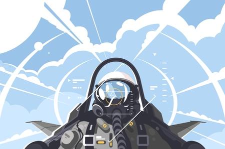 Ilustración de Fighter pilot in cockpit. Combat aircraft on mission. Vector illustration - Imagen libre de derechos