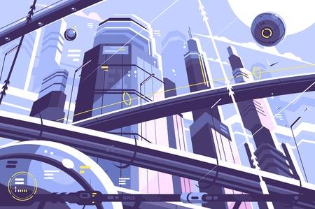 Illustration pour City metropolis of future - image libre de droit