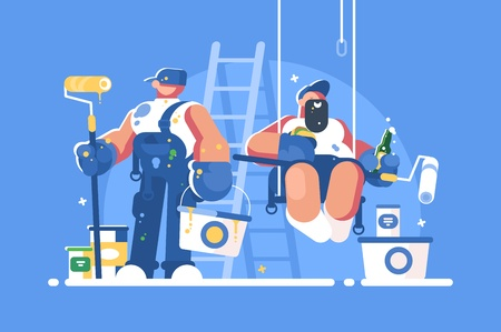 Illustration for Brigade of painters with buckets and rollers - Royalty Free Image