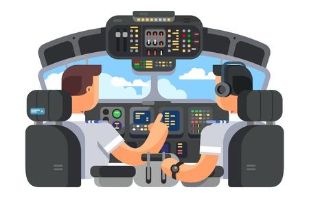 Ilustración de Pilots in cockpit plane flat design - Imagen libre de derechos