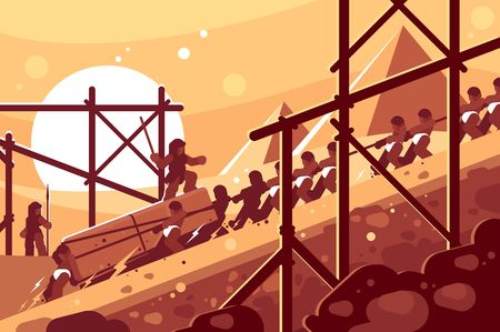 Illustration pour Construction of Egyptian pyramids. Slaves move blocks for building. Vector illustration - image libre de droit