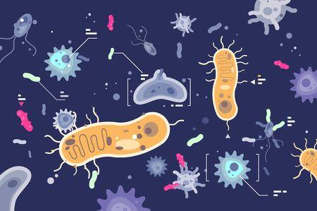 Illustration pour Different microbes bacterias microscopic world - image libre de droit