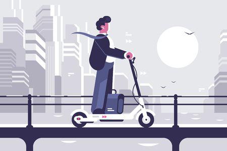 Illustration pour Young man riding electric scooter modern cityscape background. Ecology transport concept. Flat style. Vector illustration. - image libre de droit