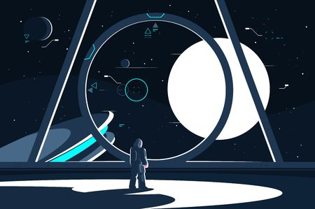 Illustration pour Spacesuit astronaut in spaceship looking at moon. - image libre de droit