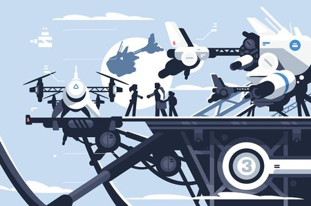 Ilustración de Taxi drone or passenger quadcopter station vector illustration. People flying on big futuristic rotor vehicle. Modern unmanned electric aircraft or automated quadrotor - Imagen libre de derechos