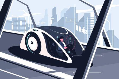 Illustration pour Relaxed man driving by smart car - image libre de droit