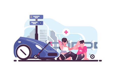 Illustration pour Traffic accident scene with car and scooter collision. Woman driver calling ambulance flat style vector illustration. Injured boy sitting on road and girl giving him first aid - image libre de droit