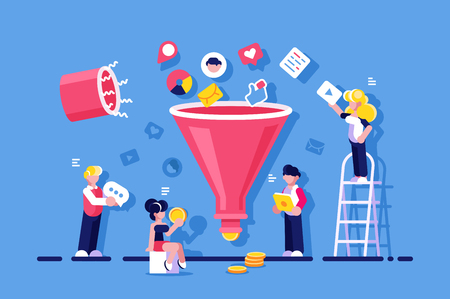 Ilustración de Market optimization with funneling vector illustration. People changing likes video messages to money flat style concept. Mobile social media commerce concept. Isolated on blue background - Imagen libre de derechos