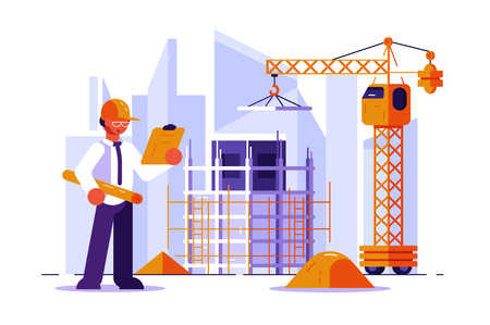 Illustration pour Architect and construction engineer vector illustration. Man in hard hat checking structural drawing flat style concept. Buildings and cranes on the background. Real estate development - image libre de droit
