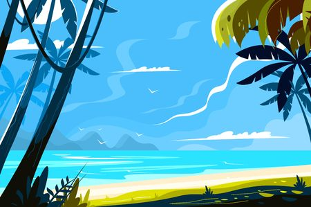 Illustration for Heavenly place landscape vector illustration. Picturesque view of island with tropical palm trees and sea waves on sunny background flat style design. Paradise beach. Summer vacation concept - Royalty Free Image