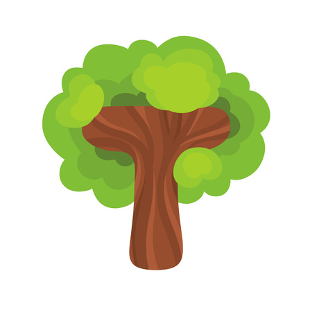 Letter T in the form of a tree. Design element is perfect for   icons, children\'s alphabet and play.