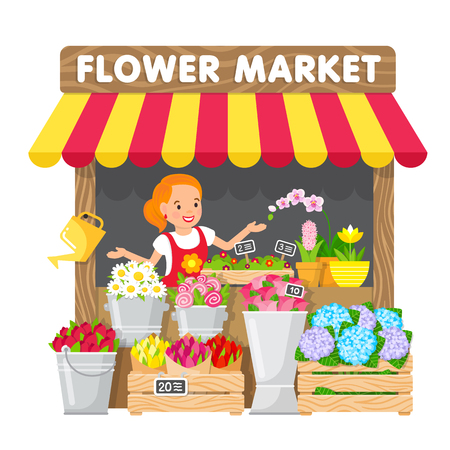 Illustration pour The young woman sells flowers in her flower shop in the local market. Cute illustration in flat style. - image libre de droit