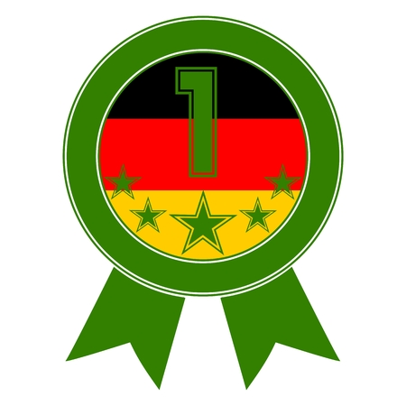 Green Number 1 with five stars and the German flag