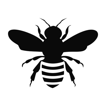 Illustration for Black Bee Silhouette isolated on white background - illustration - Royalty Free Image