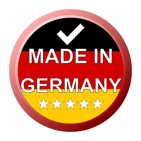 Made in Germany Button with five stars - illustration