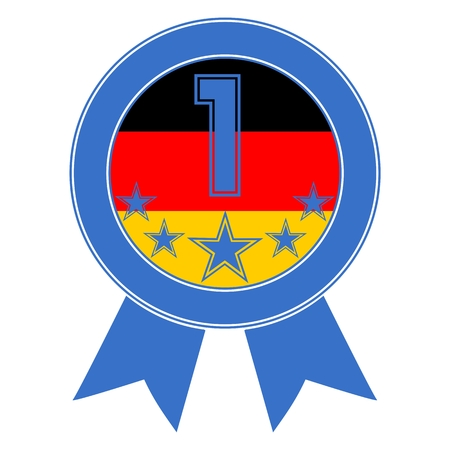 Blue Number 1 with five stars and the German flag