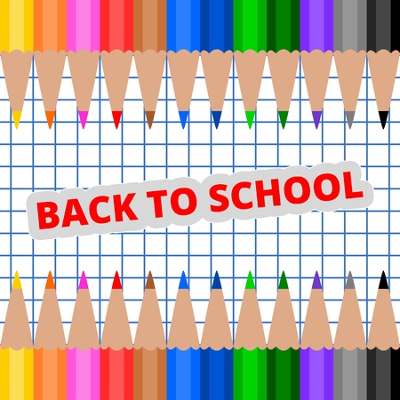 Back to School pencil frame on paper
