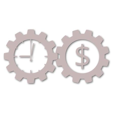 Illustration pour Time is money, Business gears concept - image libre de droit