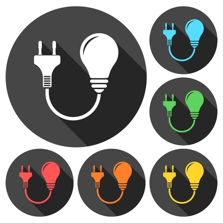 Electric plug and bulb sign icons set with long shadow