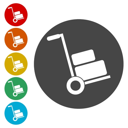 Illustration for Handcart icons set vector illustration. - Royalty Free Image