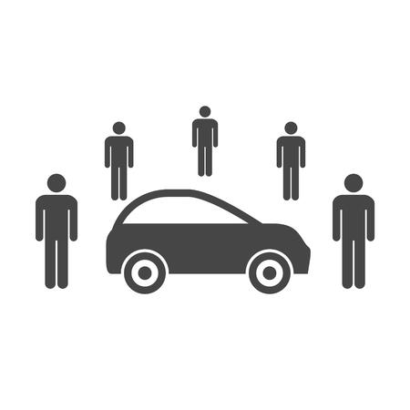 Illustration pour Car Sharing icon, Car sharing Symbol - image libre de droit