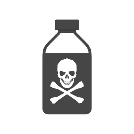 Illustration pour Old drug bottle, Deadly poison in bottle - image libre de droit