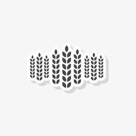 Wheat ears sticker, simple vector icon
