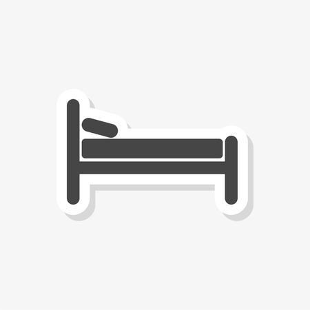 Illustration pour Hospital bed sticker, Hotel sign, simple vector icon - image libre de droit