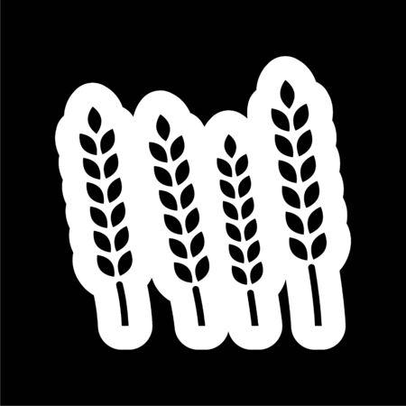 Wheat ears icon on dark background