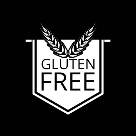 Gluten free icon, No gluten / gluten free food label on dark
