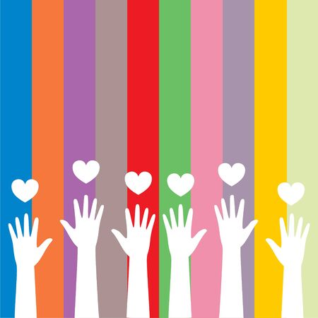 Illustration for Colorful caring up hands hearts sticker - Royalty Free Image